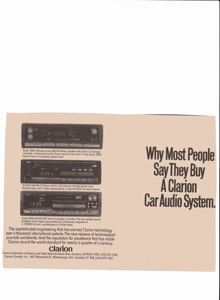 17 best ideas about clarion car audio kenwood car 1989 clarion car stereo ad audia 3000 5670 8100 published rolling