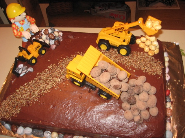 Bob the Builder/construction birthday cake