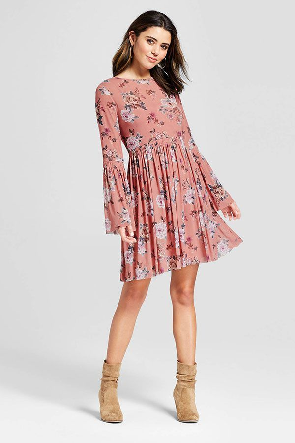 70cc045f7b78d Floral Long Sleeve Bell Sleeve Skater Dress