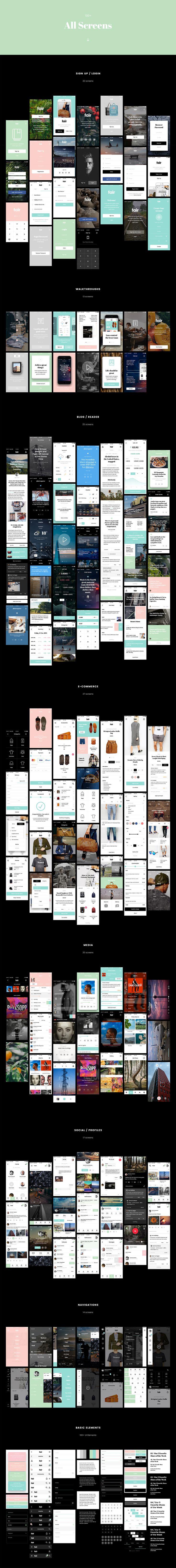 Fair UI Kit (130+ iOS screens) by Komol Kuchkarov on Creative Market