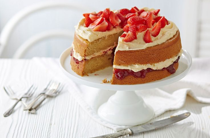 Treat yourself to a slice of this vegan-friendly Victoria sponge cake. Make this cake with Tesco Real Food; it's the perfect afternoon tea treat!