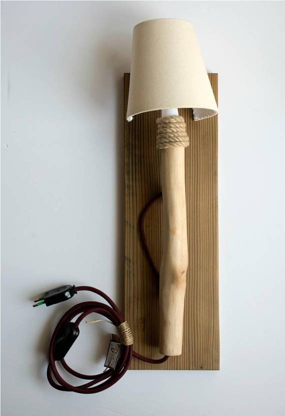 Country chic wall sconce handmade wood lamp by decordemon