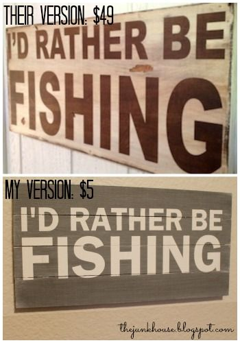 Diy I D Rather Be Fishing Sign