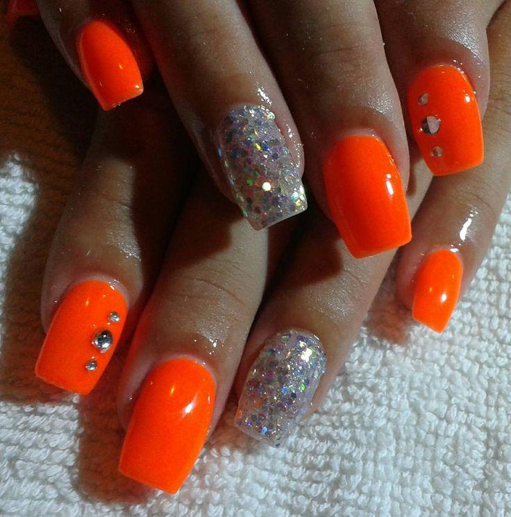 Neon orange nail art