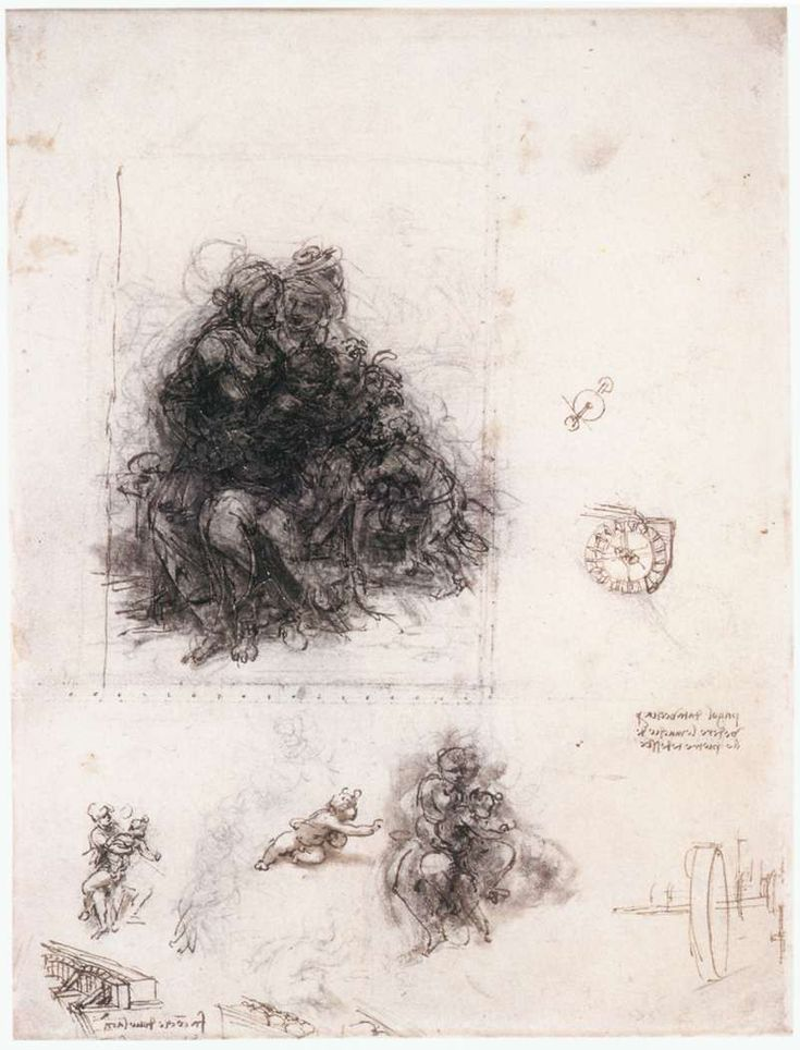 """Study for the """"Burlington House Cartoon"""" (The Virgin and Child with St. Anne and St. John the Baptist), 1507 - Леонардо да Винчи"""