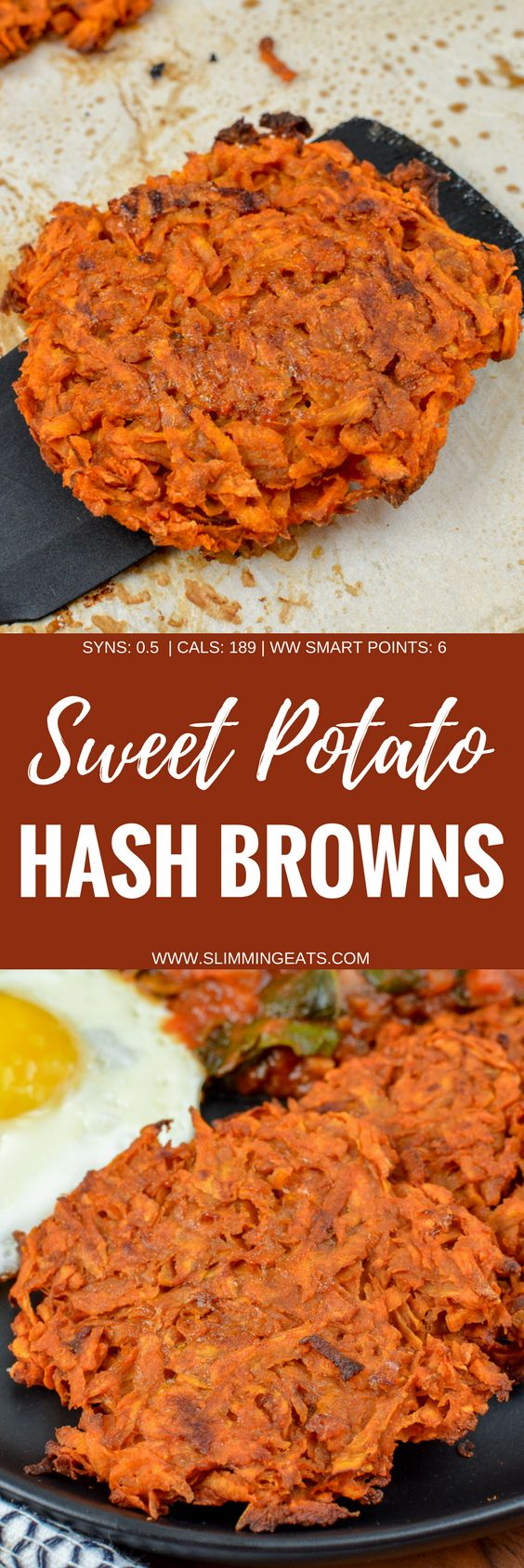 Serve up these delicious Sweet Potato Hash Browns for breakfast with your favourites eggs of choice. It's an amazing combination. Gluten Free, Dairy Free, Vegetarian, Slimming World and Weight Watchers friendly   www.slimmingeats.com