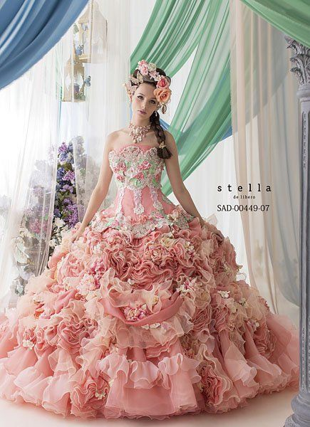 Ball Gown | Pink ruffle ball gown looks like woodland creatures may have designed it for Cinderella!