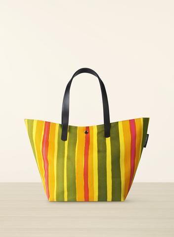 MARIMEKKO ROTTI BAG YELLOW, GREEN, PINK  #stripes #stripe #preppy #lime #green #yellow #leather #canvas #cotton #marimekko #purse #bag #handbag #laptop #laptopbag #pirkkoseattle #pirkkofinland