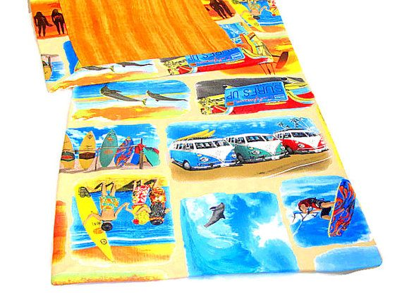 Blue surf table runner  Custom 16x72 runner  California by SABDECO