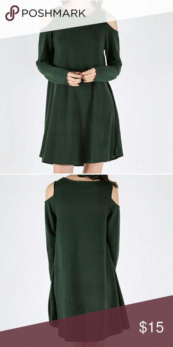 Forest Green 'Cold Shoulder' dress  PRICE IS FIRM This is the perfect 'throw it on and go' dress!  Just because your running errands doesn't mean you can't be stylish and comfortable at the same time! The forest green is stunning on every skin tone (I was a make-up artist for 10 years). Do a quick braid or a few twists and off you go! Dresses Long Sleeve