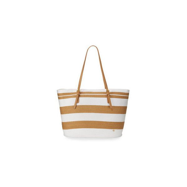 Cappelli Straworld Striped Straw Tote Bag ($45) ❤ liked on Polyvore featuring bags, handbags, tote bags, straw handbags, zip top tote, zippered tote bag, white tote bag and white tote