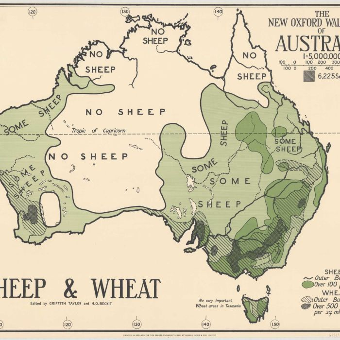 Where is the geeen sheep?   Trove releases some quirky old maps of Australia, starting with one dividing the country up into the sheep haves and have-nots.