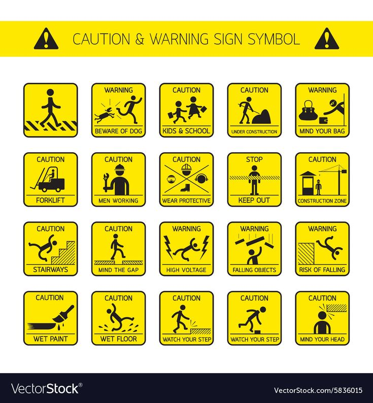 Caution And Warning Signs In Public Construction Vector Image Sponsored Signs Warning Caution Public Ad Slip And Fall Wet Floor Signs Hazard Symbol