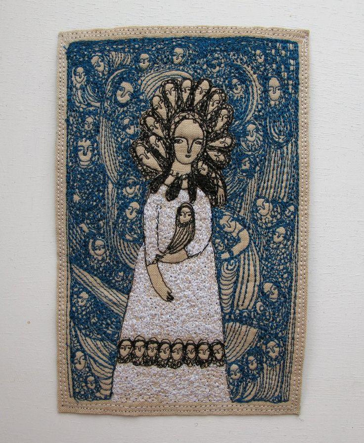 fantastical blue - an original embroidery artwork. £125.00, via Etsy. Cathy Cullis