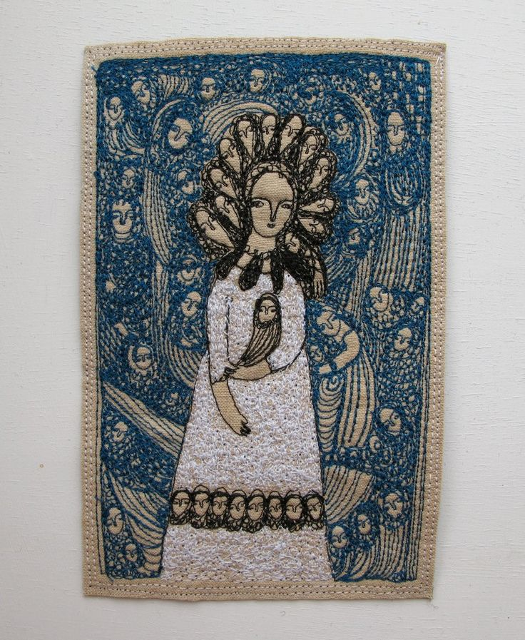 fantastical blue - an original embroidery artwork. £125.00, via Etsy. Cathy Cullis: