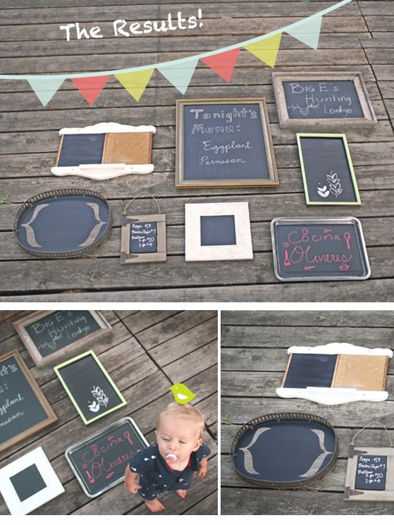 Love these homemade chalkboards! And I have some old picture frames and silver platters to use...can't wait to make these this week!