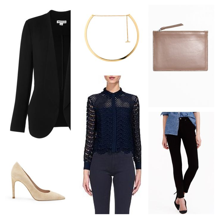 Client brief: elegant and modern outfits for formal occasions including dates and dinners. Jacket, choker, shirt and heels: Whistles Jeans: J.Crew Bag: & Other Stories