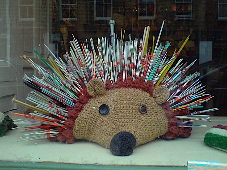hedgehog knitting needle holder   ... giant crochet hedgehog complete with prickles. Isn't it great