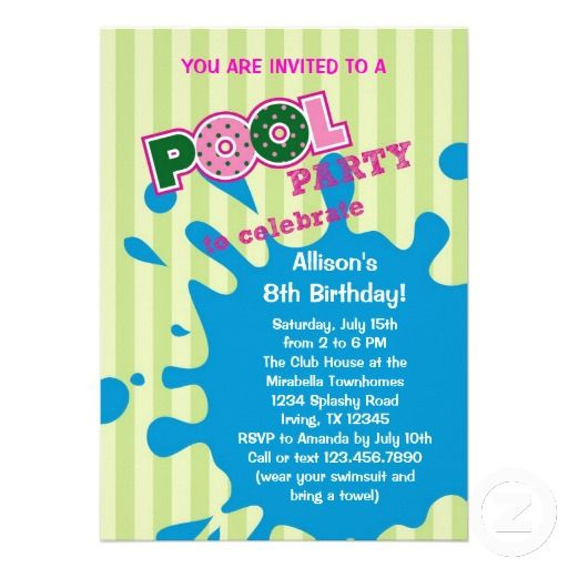 20 best Pool Party Invitation Templates images on Pinterest - pool party invitation