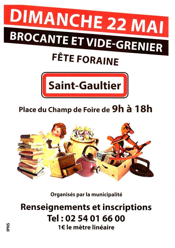 Brocante-Vide grenier, Saint-Gaultier, Place du Champ de Foire, Dimanche 22 Mai 2016, 9h00 > 18h00