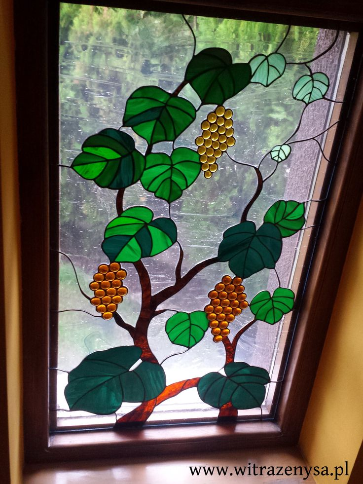 stained glass window, vine motif