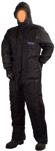 Insulated coverall with hood - freezer overalls for cold storage protective clothing. Hooded freezer insulated coverall suit for severe cold weather.