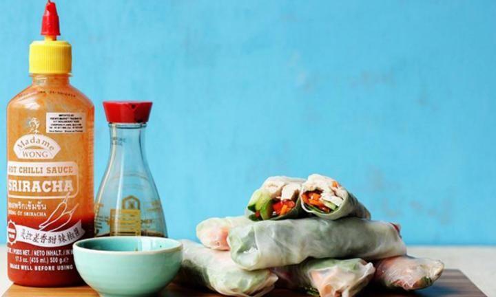 Easy roast chicken and veggie rice paper rolls