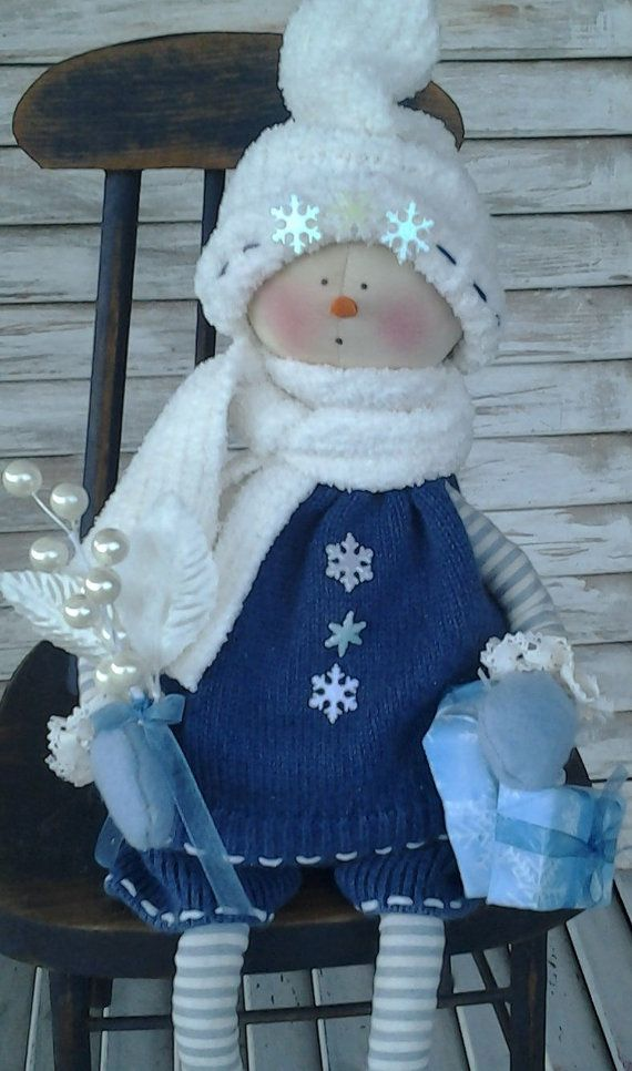 Primitive Christmas Snow Girl Cora by CCCPrimitives on Etsy