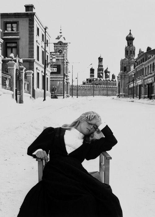 "hauntedbystorytelling: "" Julie Christie on the set of David Lean's Dr Zhivago (1965) / source """