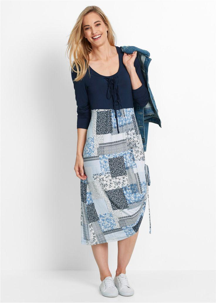 Kleid, Langarm dunkelblau bedruckt - bpc bonprix collection jetzt im Online Shop von bonprix.de ab ? 29,99 bestellen. Weich fließende Qualität, mit ...