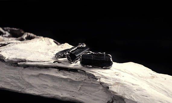 Rough Black Tourmaline Ring Faerie Ring Gothic Ring Fantasy