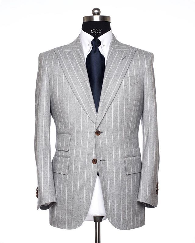 AL Summer Grey Pinstripe Suit. Our Signature Ticket Pocket Style w/ 3.25