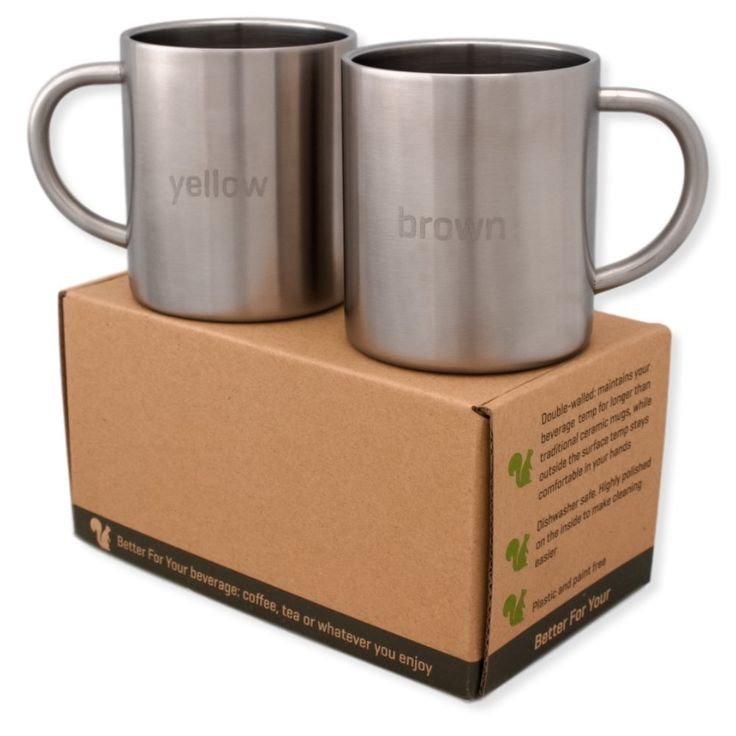 Stainless Steel Double Wall Coffee Mugs - Tea Cups - Yellow - Brown -Set of 2, Adult Size 13.5oz