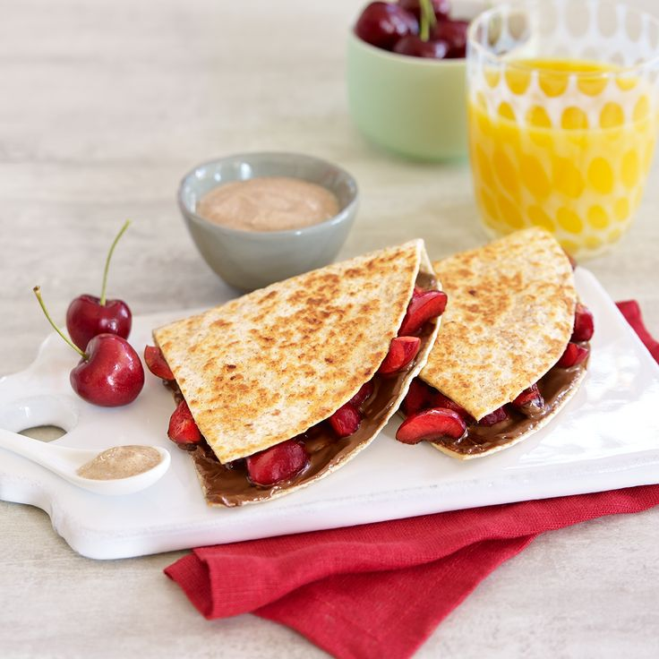 ... spread with Nutella, and add sliced cherries for a sweet quesadilla