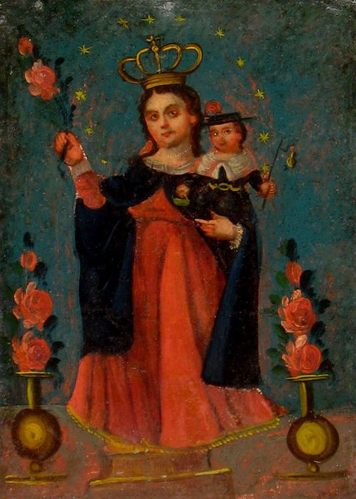 Old Mexican folk art.  Christ is costumed as a pilgrim, much like el Divino Nino de Atocha