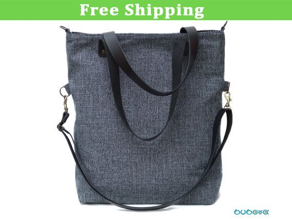 ENVÍO gratis *** azul bolso, correas de cuero genuino, bolso de hombro, bandolera, plegable, Convertible, lona, tela