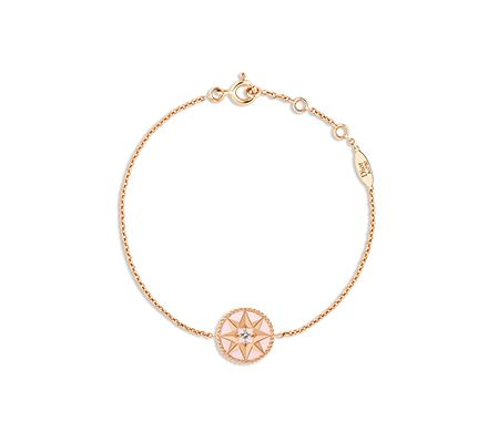 Rose des vents bracelet, 18k pink gold, diamond and pink opal -  Dior