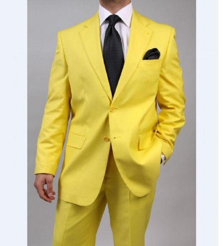 Por Encargo Muesca Solapa Esmoquin Del Novio Padrinos de Boda Amarillo Mens Trajes de Boda Mejor Hombre (Jacket  Pants  Tie) | 32741185762_es
