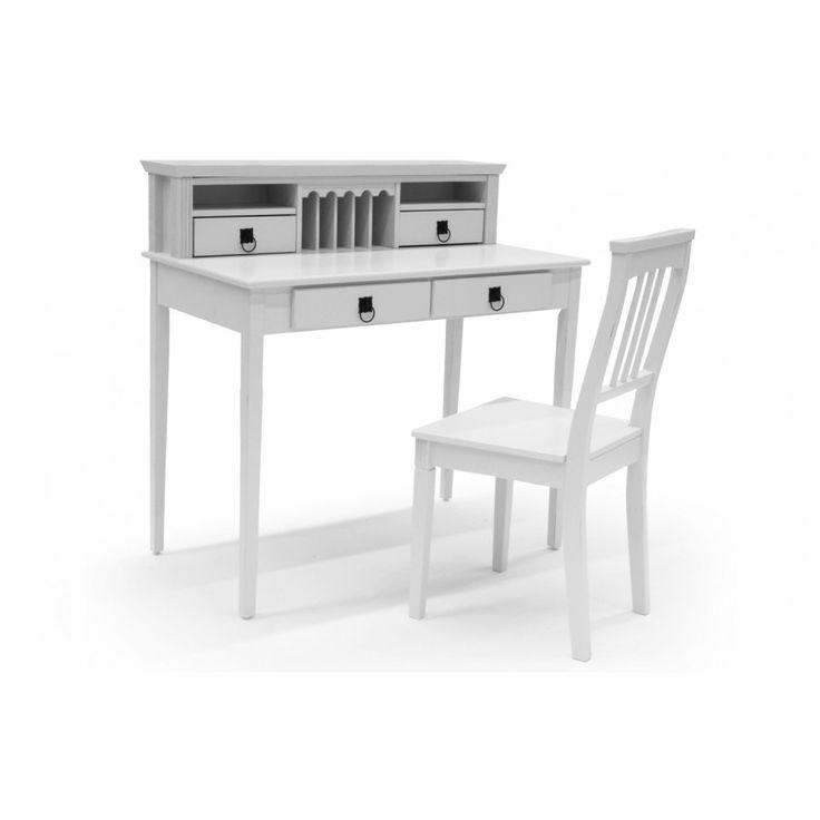 339e, Kaunis ja klassinen valkoinen kirjoituspöytä ja tuoli.Ulkomitat: leveys 100cm, syvyys 55cm, korkeus 100cm.