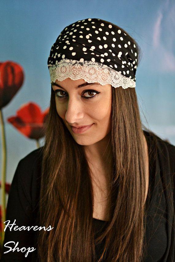 Black Headband With White Polka Dots Turban Elastic by HeavensShop, €14.50
