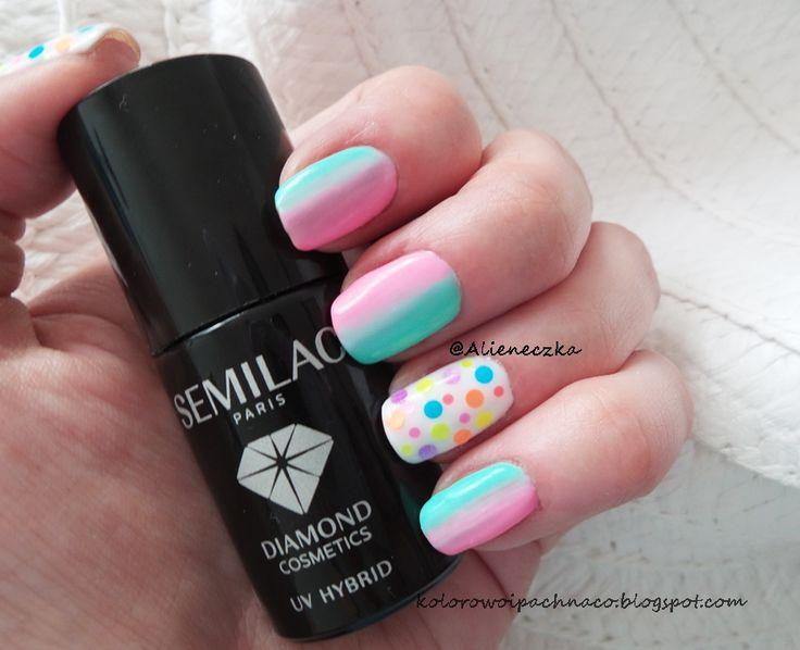 "Hybrid Manicure. Semilac ""Mint"", ""Lovely Mickey"" and Bling (white, nr 22) + glitter neon matt."