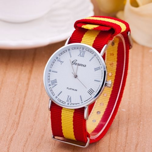 3 Pack Nylon Fabric With Striped Canvas With A Big Dial Watch Geneva (Colour   Red and yellow) 48b41d7aeb476