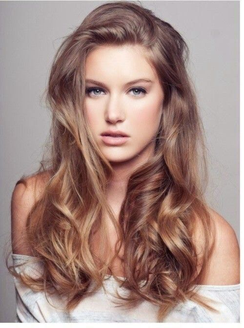 Very light ash brown hair color for long layered hairstyle