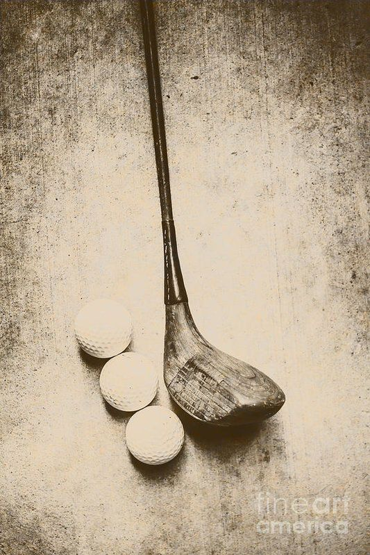 Vintage golf artwork of a wood driver with old golf balls. Clubhouse wall art by Ryan Jorgensen