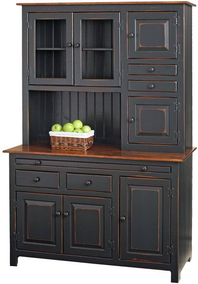 Hoosier Cabinet with Two-tone finish: Primitive Black paint and Cherry stain top