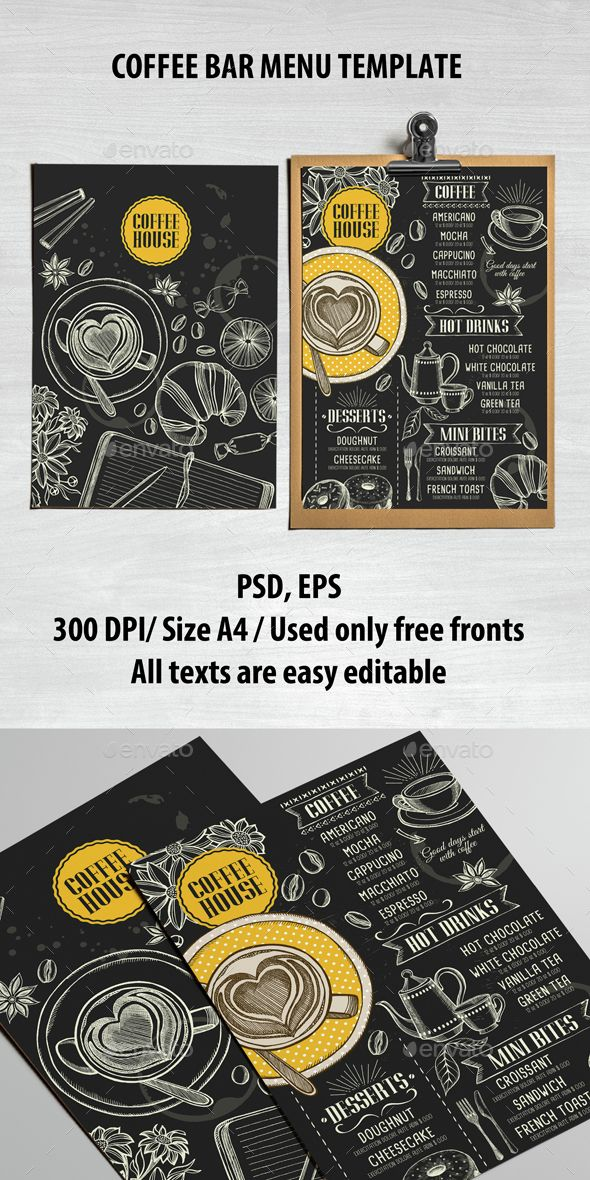 Coffee Bar Menu Template PSD, Vector EPS. Download here: http://graphicriver.net/item/coffee-bar-menu-template/15146462?ref=ksioks