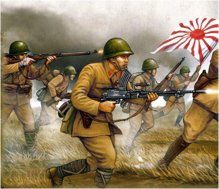 Esercito Imperiale Nipponico - Fanteria all'attacco, 1939. Armati con mitragliatrice leggera Type 99 e fucili Arisaka.