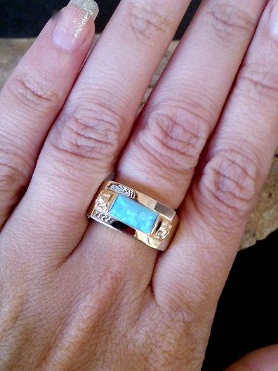 SALE 14K Gold filled ringOpal Ring rectangle by candybohojewelry