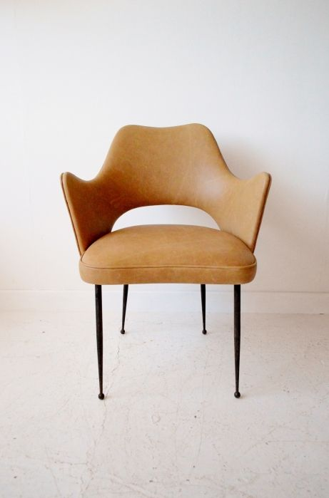 Italian 1950s easy chair. side chair. Bedroom chair. leather