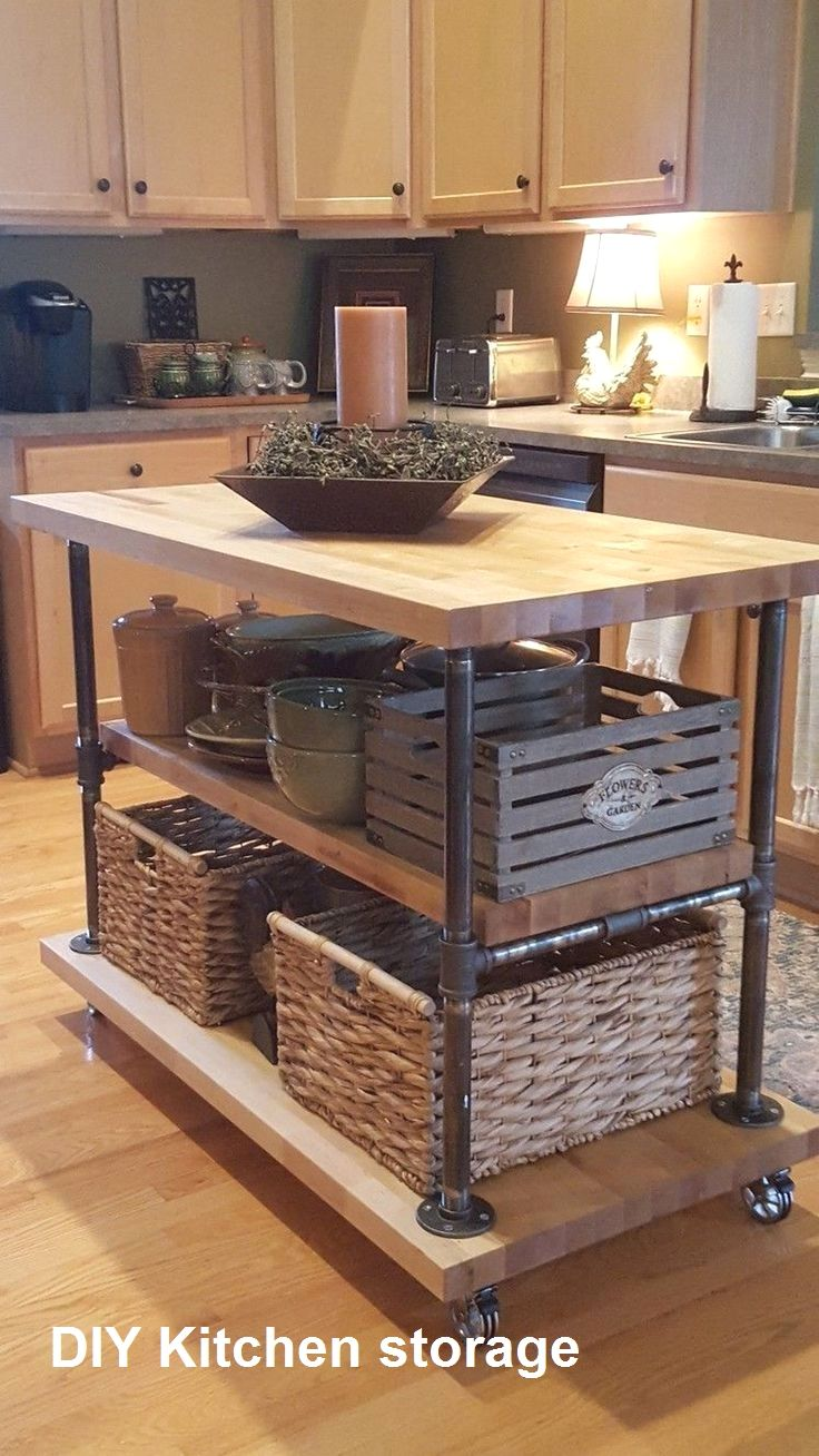 Kitchen Storage in 2020 Rustic kitchen island